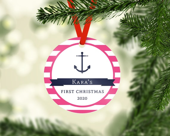 pink anchor baby s 1st christmas ornament personalized baby