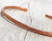 Skinny Copper Cuff Boho Style Bracelet, Stacking Bracelet, Hammered Copper Bracelet, Gift for Her,