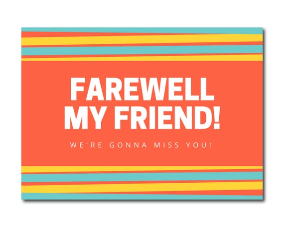 farewell 5 x 7 printable card instant download friend