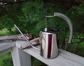 Nickel Plated Brass Watering Can with Coil Accent Handle