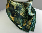 """Small Square Scarf, """"Victorian I"""" Silk Kerchief with Hand-rolled Hem, 3D Fractal design, 17"""" Square, gifts for her, wrist or purse scarf"""