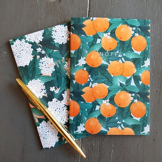 A6 Oranges and Blossom Notebooks Pack of 2
