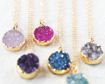 Noelani Necklace-Gold Druzy Necklace,gold druzy necklace,gold necklace,gold pendant necklace,mother's day gift,graduation gift,gift for teen