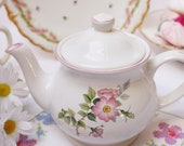 "Pretty  Sadler teapot: English Sadler teapot. It is a beautiful teapot decorated with ""Wild Roses"" and dainty pink rims."