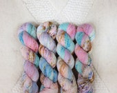 """Hand Dyed Yarn - """"Sorbet with almond cumbles"""" Merino Wool Fingering weight, Indie dyed yarn, Speckle Sock Yarn 100g skein"""