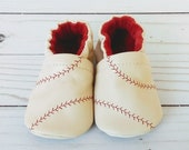 Baseball: Handmade Baby Shoes Soft Sole Leather Booties