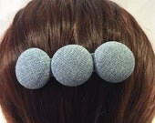 Gray Fabric Covered Button French Barrette/Hair Accessories/Gifts for Her/by Allica Designs - Free Shipping in the US