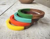 Mid Century Bangles Wood and Lucite Orange Yellow Blue Green, 1960s Bracelets, Retro Jewelry, Modernist Fashion, Rockabilly Slip On Bracelet