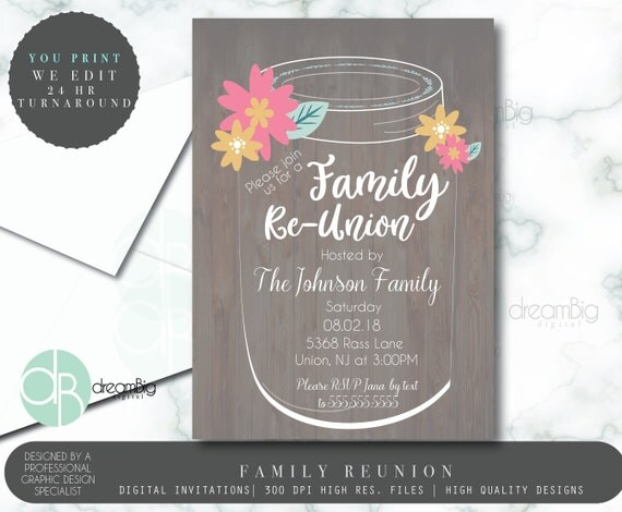 family reunion with mason jar floral rustic invitation family picnic