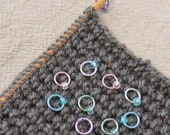 10 Mermaid Stitch Markers - snag free ring markers. Fits up to 4.5mm (US7) knitting needle. Hand crafted in UK.