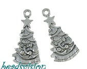 10/30 Pendant charms fir Tree color antique silver Metal Christmas decoration 26 x 13 mm # S566