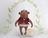 Spun cotton Christmas ornament teddy brown bear with crown