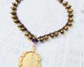 Bracelet - Divine Mercy / Jesus I Trust In You 21x30mm & Amethyst 18mm - 18K Gold Vermeil - Parisian Chain