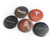 """5 Pack 1.25"""" Elon Musk Pin-back Buttons or Magnets with Tesla, Boring Company, Space-X, Neuralink and Elon"""