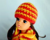 Sindy Hat Red and Yellow Striped Alpaca Wool Beanie Style