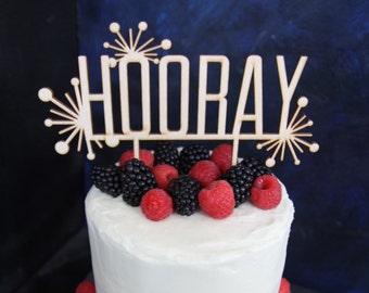 Hooray Birthday Cake Topper Congratulations Celebration Decor