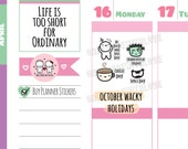 Wacky Holidays - October 2018 Planner Stickers (2018 - W10)