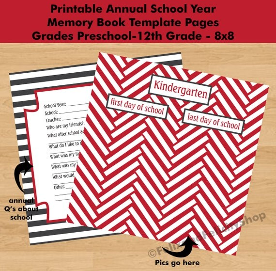 Printable Back To School Annual Journaling Book Pages School Year