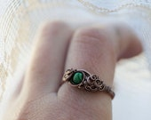 Green Malachite Ring, Delicate Copper Ring, Elvish, US size 8, Bohemian, Rustic Malachite Hope Ring
