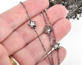 16 feet Crystal STAR Chain GUNMETAL BLACK with 9mm Clear Rhinestones fch0921b