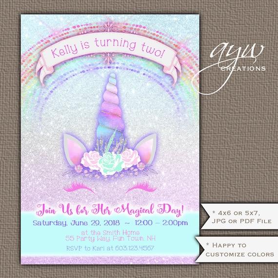 Unicorn birthday party invitation girl 2nd birthday invitation il570xn filmwisefo