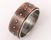 Silver copper unique engagement ring - wedding band ring,silver copper,mens engagement ring,gift for him