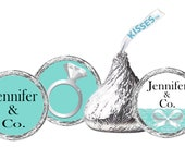 Tiffany Blue Kisses Labels / Bridal Shower / Birthday Party / Baby Shower / Wedding / Bat Mitzvah / Hershey's Kisses Labels
