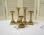 Vintage Ornate Candle Holder Set of 5 Gold Tone Metal Various Heights Table Centerpiece Mantel Square Base PanchosPorch