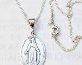Necklace - French Miraculous Medal Sterling Silver - 21x33mm + 18 inch Italian Sterling Silver Chain