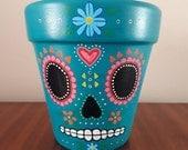 Teal Sugar Skull Plant Pot