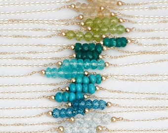 Simple Birthstone Necklace, Gemstone Bar Necklace, Beaded Gemstone Necklace, Simple Layering Necklace, Labradorite Necklace