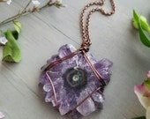 Wire Wrapped Amethyst Stalactite Necklace with Turquoise Magnesite Gems >> Long, Layering Necklace, OOAK, Gemstone Jewelry