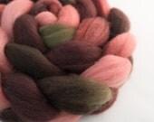 Handpainted BFL Wool Roving - 4 oz. PAPER ROSES - Spinning Fiber