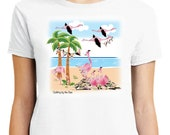 Flamingos T-Shirt - Quilting By The Sea