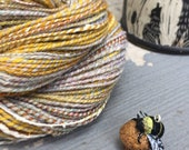 The Beekeeper Bundle: Handspun Yarn in Honeycomb with Bee Cupcake Stitch Marker for Knitters & Crocheters