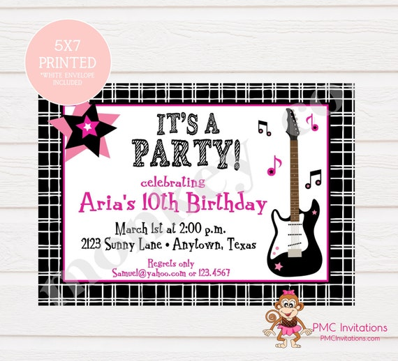 Custom printed girls pink guitar music birthday party invitations il570xn filmwisefo