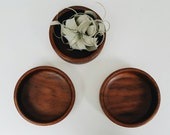 Set of 3 Small Wooden Bowls - Mid Century Modern Accessory - Trinket Bowl - Minimalist