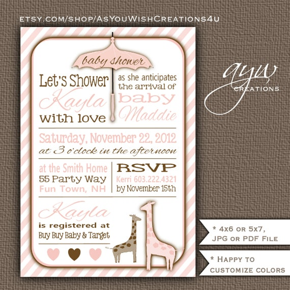 Giraffe baby shower invitation for girl printable baby shower il570xn filmwisefo