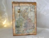 Upcycled Journal Sketchbook Map of Great Britain with Brass Charms