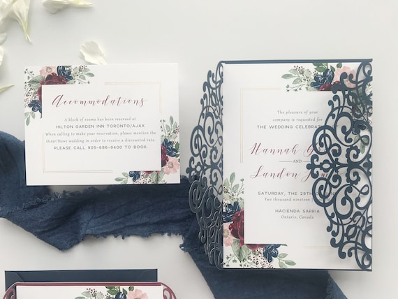 Navy Burgundy And Gold Laser Cut Wedding Invitations By Unica Forma