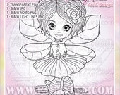 Buttons Fairy Fae Faery UNCOLORED Digital Stamp Image Adult Coloring Page jpeg png jpg Fantasy Craft Cardmaking Papercrafting DIY