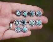 New Lander and Tyrone Turquoise Stud Earrings // Sterling Silver // 12 mm