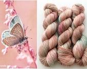 Hand Dyed/Hand Painted Yarn--Gossamer Wings on Superwash 70 Merino/20 Silk/10 Cashmere Fingering