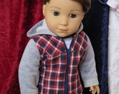 """Newly Released! 18 Inch Doll Plaid Hoodie Jacket - Boy Doll Clothes - American Made Doll Jacket - 18"""" Doll Jacket - 18 Inch Doll Clothes"""