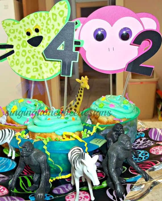 Jungle Cake Topper Zoo Cake Topper Safari Animal Cake Smash Cake