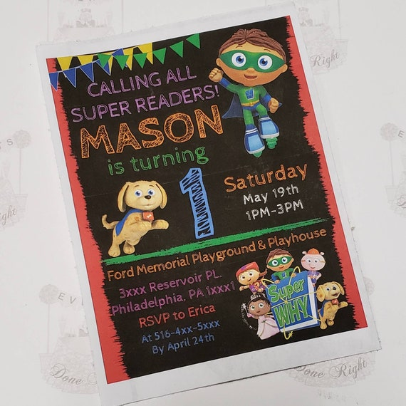 Super why birthday invitations birthday party supplies decorations il570xn filmwisefo