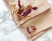 Peach hand stitched floral bandana neck scarf embroidered accessory