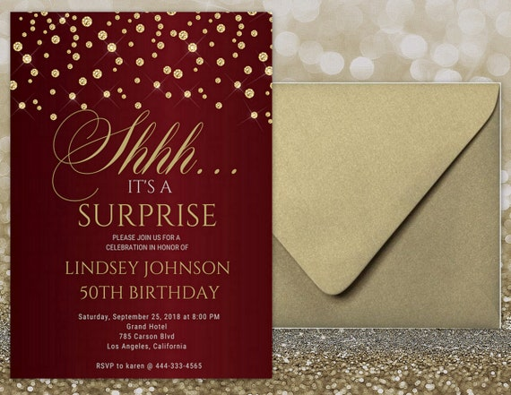 Red and gold surprise birthday invitation red and gold invitation il570xn filmwisefo
