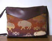 RESERVED for Elena Buffalo Wool Cross Body Bag Purse Brown Leather