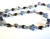"""Silver Blue and Black Glass & Hematite Beaded Chain, 16"""" Unfinished Chain, Jewelry Supplies, Takuniquedesigns"""